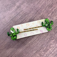 Party Cactus Hair Slides In Green Chunky Glitter - sold as a pair