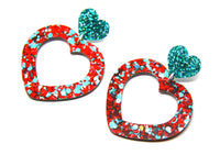 Dream Lover Heart Dangles - Red and Teal