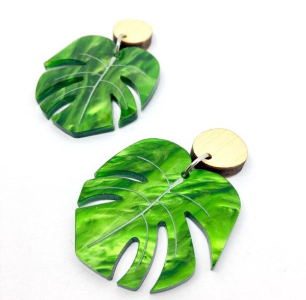 Shady Lady Large Monstera Dangles - Various Colours