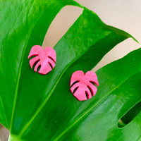 Shady Lady Small Monstera Studs - Hot Pink Marble