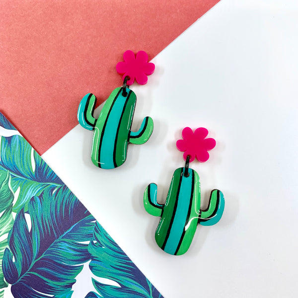 Party Cactus Hand Painted Midi Dangles