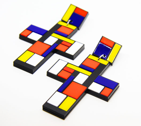 My Mondriaan Extra Large Cross Statement Dangle Earrings