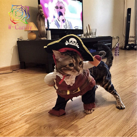 Cute Cartoon Dog funny Modelling pirates for cat dog Dress suit clothes dogs cats hat Pet Supplies Puppy Cat Warm Clothes M-XL
