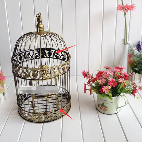 19x35cm Vintage Bronze Bird Cage Metal Decoration Prop Bird Nest  Bird Cage Creative Marriage Wedding Photography Iron Candlesti