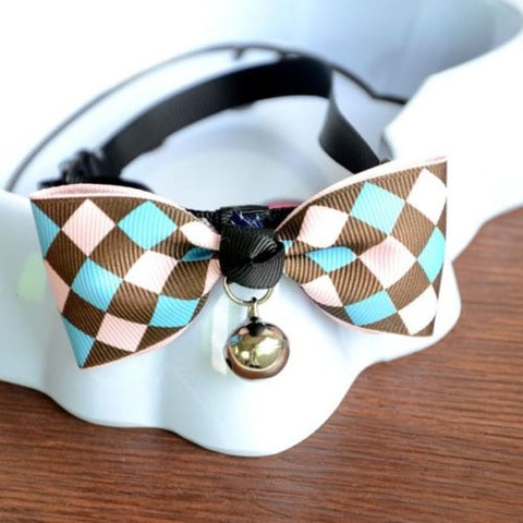 New Lovely Adjustable 9 Colors Plaid Leopard Print Bowknot Bell Cat Dog Necklace Puppy Pet Collar Pet Supplies