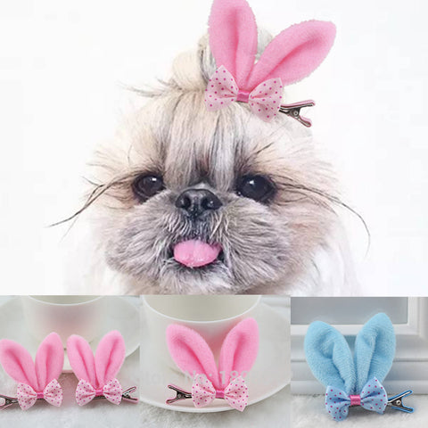 6 Pcs/lot Pet Dog Grooming Accessories Clips For Dogs Cats Clipper Dog Hairpin Pink Blue Rabbit Ear Dog Hair Bows Alloy Clips