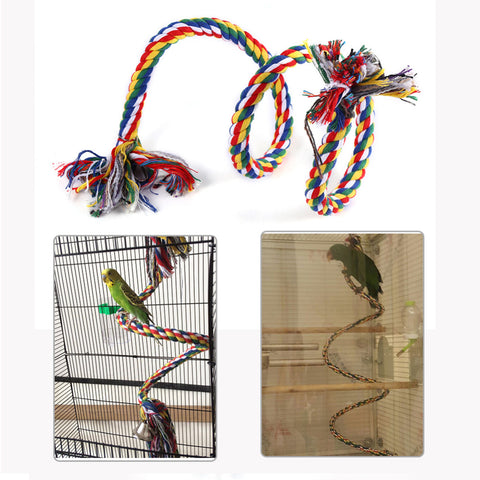 Parrot Toy Rope Braided Pet Parrot Chew Rope Budgie Perch Coil Bird Cage Conure Cockatiel Toy Pet Birds Training Accessories
