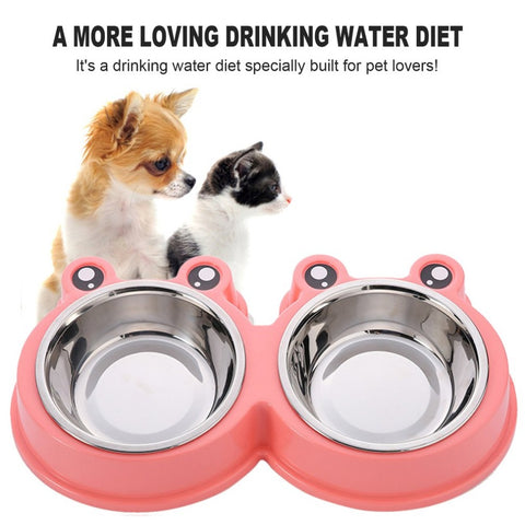Combo Dog Bowl Cat Food Single Bowl Double Pet Bowl Safety Environmental Protection Plant PP resin+stainless steel