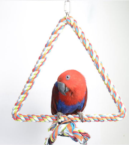 Large Parrot Toy Bird Bite Toy Stop Bar Cotton Triangle Perch Standing Rope Climbing Toy For Big Parrot African Grey T015