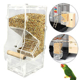 New Hot Clear Acrylic Pet Parrot Bird Automatic Cage Feeder Size Small Single Hopper Pets Supplies Accessories Birds Feeders - VipPetSupply