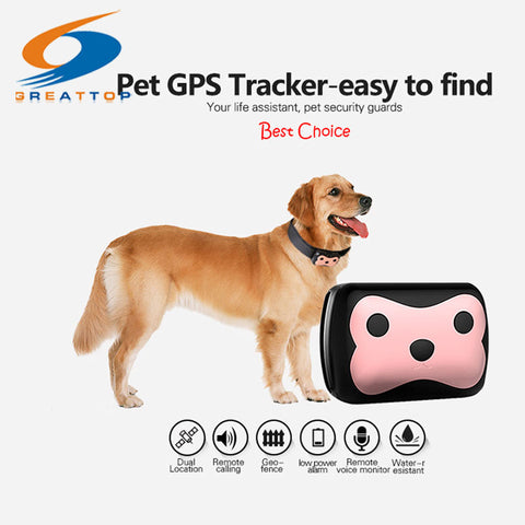 New Arrival Mini Waterproof Pets Collar GPS Tracker Cat Dog 4 Frequency GPRS GPS+LBS Dual Location with Free APP Free shipping
