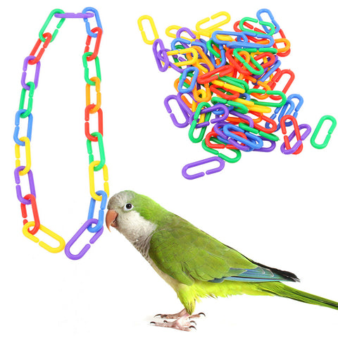 100pcs/lot Plastic C-clips Hooks Chain C-links Sugar Glider Rat Parrot Toy Bird Toys Stairs Pet Products for Parrots Parakeets