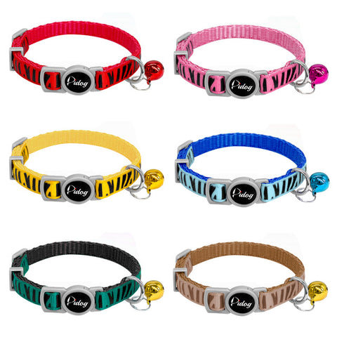 6pcs/lot Quick Release Cat Collar Nylon Kitten Break Away Safety Puppy Small Dog Collars With Bell Multi Colors