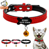 Customized Cat Collar PU Leather Padded ID Collars Personalized Puppy Pet Information For Small Medium Cats XXS Red Pink Black - VipPetSupply