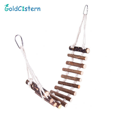 Pet Bridge Ladder Bird Toys Hamster Rat Ladder Hanging Wood Bridge Swing Ladder Natural Wooden Parrot Birds Chewing Toys 70x10cm