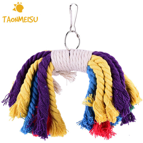 Climb The Bird Parrot Cotton Rope Chew Toys Bite Bird Toys random color