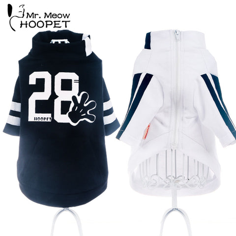 Hoopet Pet Dog Cat Clothes Motion Style Sweater Vitality Leisure Breathable Handsome Fashion White Black Autumn Dog Clothes