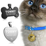 FLOWGOGO Stainless Steel Pet Cat Dog ID Tag Engraved Anti-lost Cat Small Dog Collars Accessories Cat Necklace ID Name Tags - VipPetSupply
