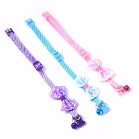 1pcs Bowknot Design Nylon Dog Puppy Cat Collars adjustable Necklace Cat Harness With Bell For Pet Small Animal Pets Supplies