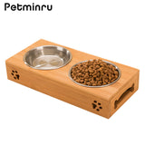 Petminru pet dog bowl bamboo stainless steel double food water teddy dog feeder cat bowl pet food bowls - VipPetSupply