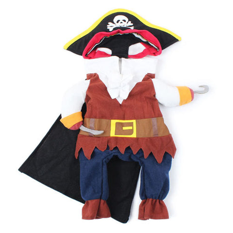 1 Set Cute Cartoon Cats Dogs Pirate Costumes Suit Dressing Up Puppy Clothes Hat Role Play S M L XL 4 Sizes Pets Accessories