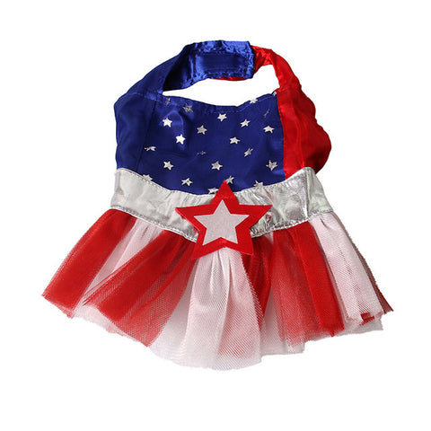 American Style Red Blue Stripe Star Pet Cat Dog Costume Cosplay Perform Cloth Cloak Birthday Party Gift Pet Supplies