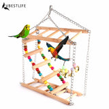Parrots Toys Bird Swing Exercise Climbing Hanging Ladder Bridge Wooden Rainbow Pet Parrot Macaw Hammock Bird Toy With Bells - VipPetSupply