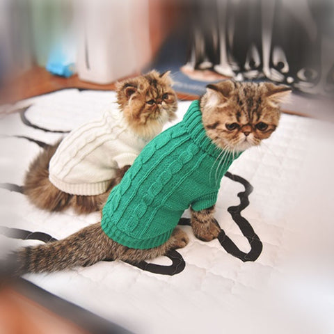 3 colors knitting wool cat cloth sweater Leisure cat clothes keep your pet warm in the winter good quality pet cat dog vest