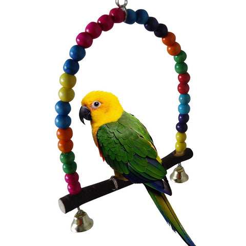 Wooden Bird Cage Rainbow Beads Swing Parrot Cage Bird Toys Parakeet Cockatiel Budgie Hanging Toy Pet Products