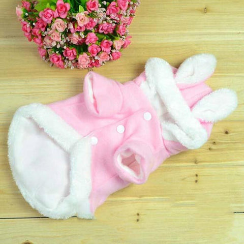 Cat Clothes Warm Costumes Cotton Cute Rabbit Style Clothing For Cat Pet Coats Small Large Pink Kitty Puppy Cloth