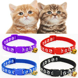 2PCS Hot Lovely Bell Pet Collar Small Footprint Nylon Fabric Cat Kitten Dog Puppy Chain - VipPetSupply