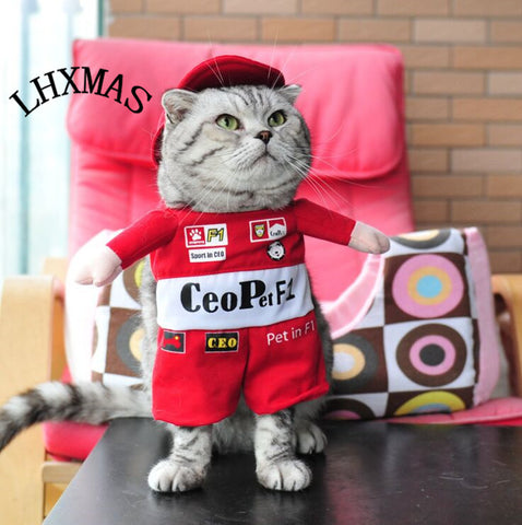 Funny Pet Cat Costume Clothes Puppy Coats Dog Outfit Uniform With Hat D466