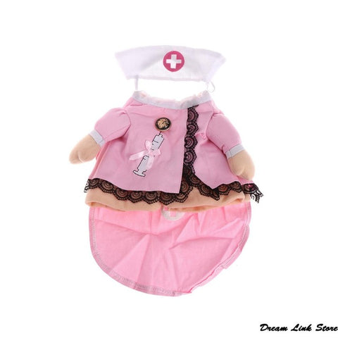 Sweet Pet Dog Cat Costume Suit Puppy Clothes Nurse Outfit For Halloween Christmas Party Gift