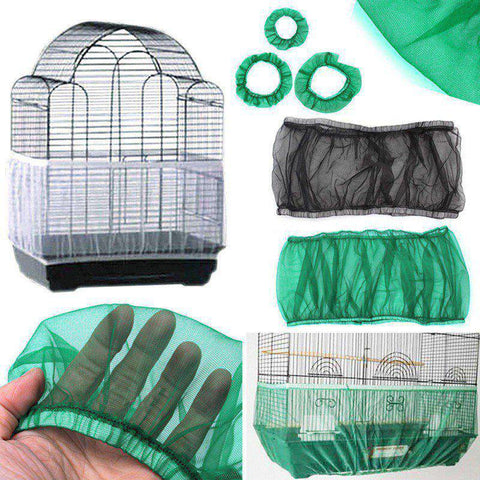 S-L Unique Soft Easy Cleaning Nylon Airy Fabric Mesh Bird Cage Cover Shell Skirt Seed Catcher Guard 3 Colors New Year 2018