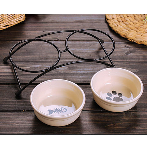 Double Ceramics Dog Cat Puppy Pet Bowl Print Fish and Paw Food Dish Non Slip Food Water Dual-use Feeding Dish Pet Supplies