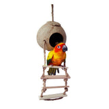 Natural Wooden Parrot Toys Coconut Shell Wood Handmade Parrot House Matching Ladder Bird Toys for Parrot Pet supplies - VipPetSupply