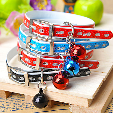 Pet xmas gift Cat collar Neck Strap with Rivet leather Cat Dog Pet Collar Products with Bell Material Pu Blink Collars for cats