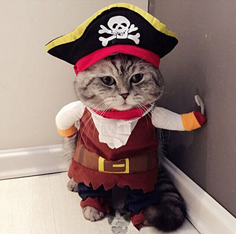 Cute Pet Dog Clothes Suit Pirate Turned Put  Cat Suit Small Medium Dog products for cats Pet  Dress Toy Cosplay Perform Toys