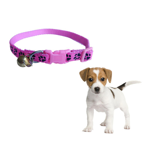 1 PC Lovely Footprint Dog or Cat Collar With Bell Buckle - Harris & Bains Pet Shop