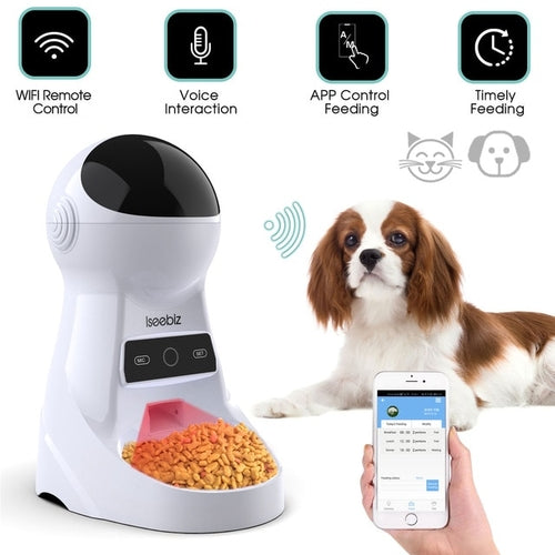 Iseebiz 3L Automatic Pet Feeder With Voice Record - Harris & Bains Pet Shop