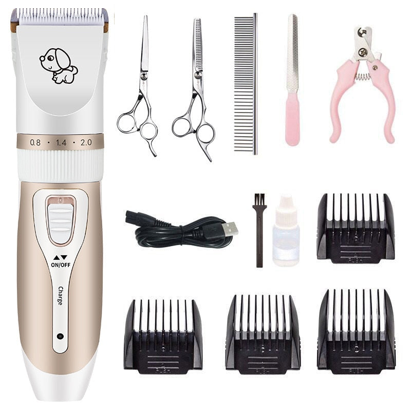 Rechargeable Professional Hair Clipper (Pet/Cat/Dog/Rabbit) Hair Trimmer Dog Hair Clipper Grooming Shaver Set - Harris & Bains Pet Shop