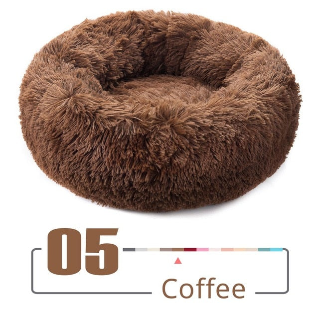 Round Plush Cat Bed House Cat Mat Winter Warm Sleeping Cats Nest Soft Long Plush Dog Basket Pet Cushion Portable - Harris & Bains Pet Shop