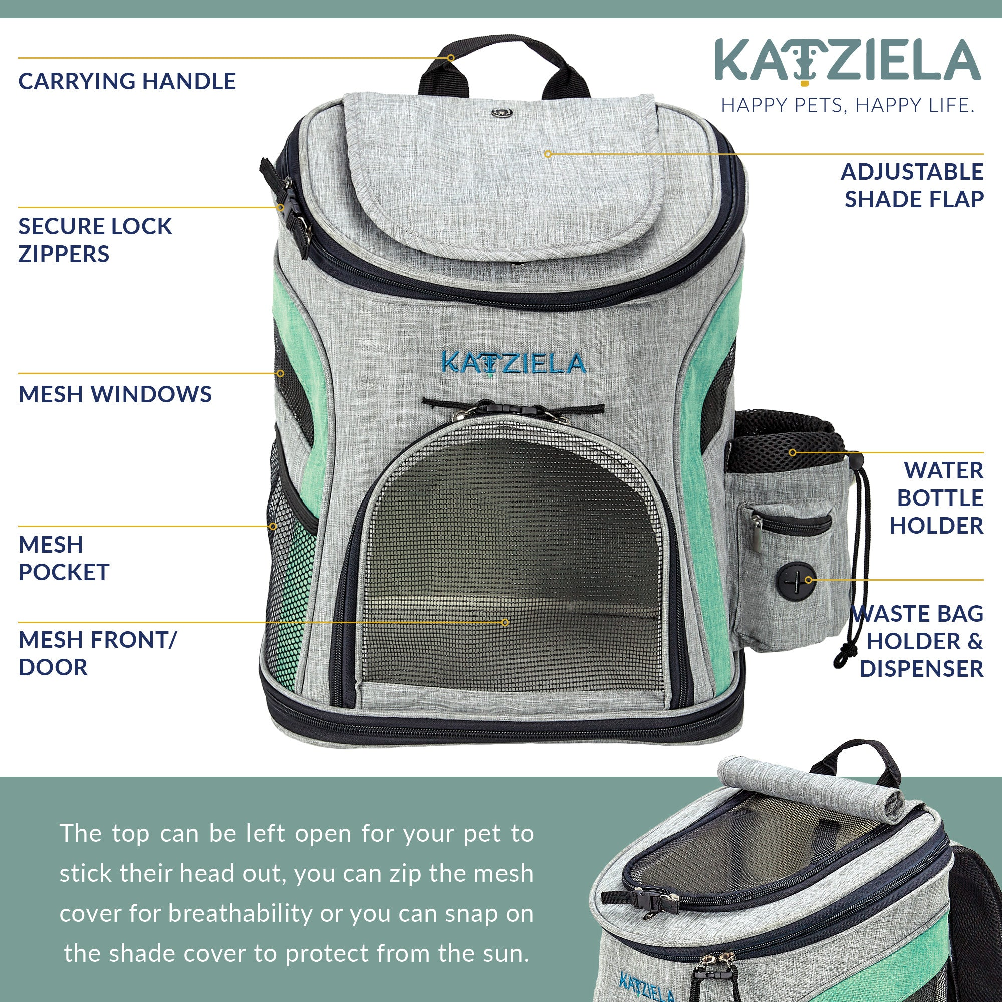 Katziela  Airline Approved Backpack for Pets - Harris & Bains Pet Shop