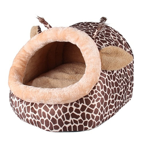 Soft Warm Giraffe Pet Sleeping Bag, available in sizes S/M/L - Harris & Bains Pet Shop