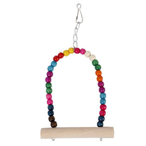 Wooden Animal Toy Swing with Hooks for Bird, Parrot & Squirrel - Harris & Bains Pet Shop