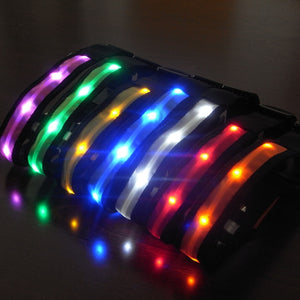 Nylon LED Collar Night Safety Anti-lost Flashing Collars 7 colors S ~ XL Size - Harris & Bains Pet Shop