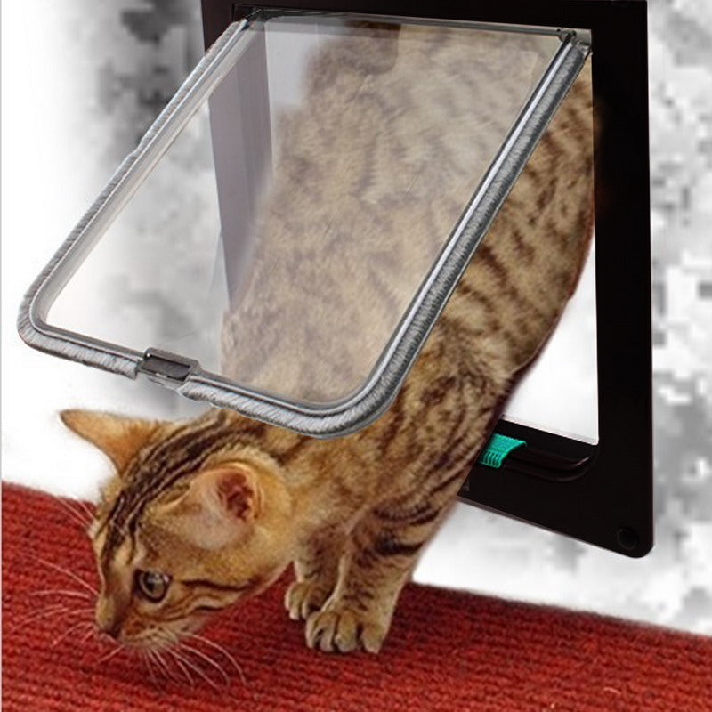 4 Way Lockable Security Door, ABS Plastic Flap Door - Harris & Bains Pet Shop