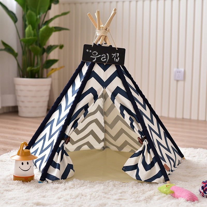 Navy Blue Zigzag Pet Teepee - Harris & Bains Pet Shop