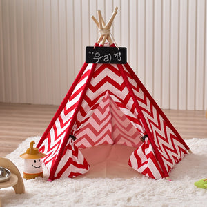 Red Chevron Canvas Pet Teepee - Harris & Bains Pet Shop