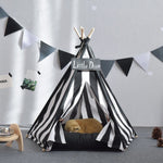 Black Striped Pet Teepee Without Cushion - Harris & Bains Pet Shop